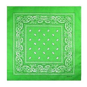 Bandana tour de cou unisexe homme femme 100 % coton – Vert – Taille unique