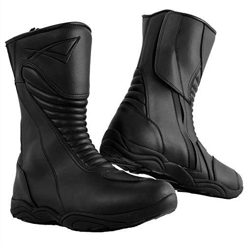 Bottes Racing Cuir Vachette Moto Motard Chaussures Renforcées Piste noir 45