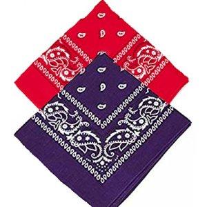 Buckingham Boutique Lot de 2 bandanas cachemire rouge et violet bandanas foulard foulard cravate de tête/cravate de nu/foulard 100% coton pour hommes, femmes et enfants, haute qualité (lot de 2)
