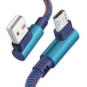Censhaorme Remplacement pour la Ligne de données Android Double Type C Coude câble 2m Tresse de Charge 90 degrés Téléphone de Charge Rapide par câble