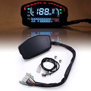 Compteur de vitesse numérique LED pour moto, compteur kilométrique, compteur de niveau d'huile avec lumière noire, convient pour tous les styles de moto, 2 cylindres et 4 cylindres