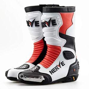 CYCPACK Hommes Courses sur Route Pro Moto Bottes Rouge, Extérieur Sport Anti Slip Cheville Protection Accident Chaussures Moto, Protection Armure Cuir Bottes Motorcross,EU41(UK7)