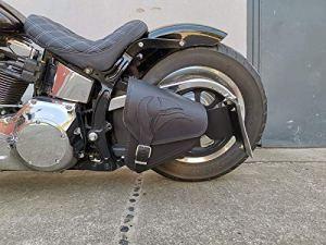 Eagle Noir Sacoche Oscillant Sacoche de Selle Harley Davidson HD Poche Latérale Softail 1981-2019 et Fatbob Streetbob à partir de 2018- Noir en Cuir Véritable Orletanos Poche Latérale Adler
