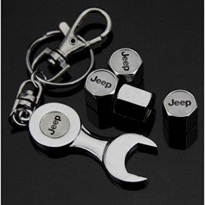 hotrodspirit – Bouchon Valve de Roue (x4)+ Porte cle Jeep Logo Blanc