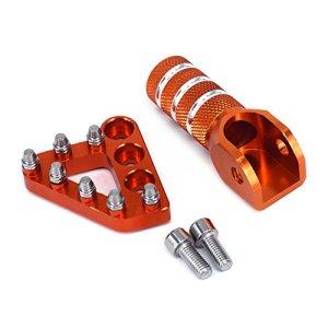 JFG Racing CNC Plaque de pédale de Frein arrière + Levier de Changement de Vitesse Shift – K.T.M 125-530 SX EXC XCF XC XCW SXF SMR – Orange