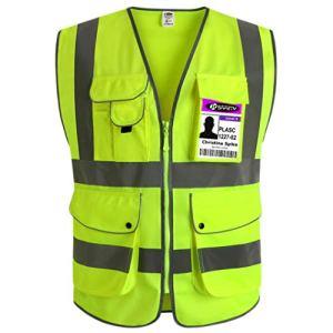 JKSafety 9 poches de classe 2″gilet de sécurité haute visibilité devant avec des bandes réfléchissantes, jaune répond aux normes EN ISO 20471 – Unisexe(X-Large)