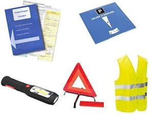 Kit auto sécurité 5 pièces :1 constat d'accident + 1 gilet jaune EN471 + 1 triangle de signalisation + 1 disque de stationnement + 1 lampe à 3 leds à dynamo et accus