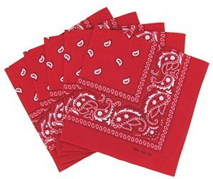 Lot de 5 bandanas paisley rouges