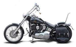 'BUFFALO Bag Sacoche de selle «Boston pour Harley Davidson Evo Softail (1992-2001) Noir–28L–avec support pour les côté gauche