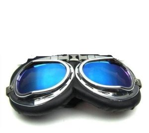 Lunettes de moto scooter aviateur Custom Vintage Monture chromée verres Bleu Harley Davidson