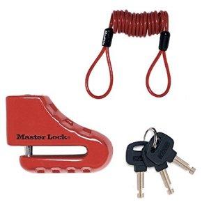Master Lock 8303EURDPS Bloque Disque Moto ou Scooter 80 mm avec Serrure à Clé avec Pêne Diamètre 5,5 mm