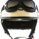 Moto Helmets Set D22–Casque de moto Vespa Bobber style vintage (bol) avec housse en plastique et lunettes de pilote incluses