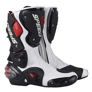 MRDEAR Bottes de Moto Cross avec Ventilation Réglable, Bottes Moto Homme en Cuir, Imperméable Chaussures Bottes de Sport Bikers Bottes avec Protections de Coque Rigides Exposées (Blanc,41 EU)