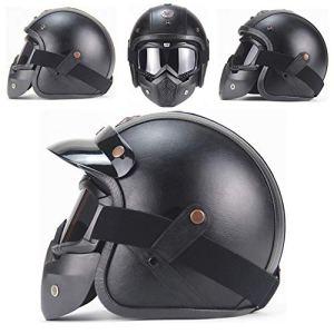 MTTK Dot personnalité Casque Moto rétro certifié Moto Vintage 3/4 Demi-Casque vélo électrique Casque de sécurité,XL