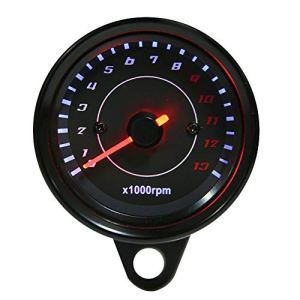 Tachymètre – Tachymètre Électronique Tachymètre – CC 12V Moto Universel Rétroéclairage LED Jauge