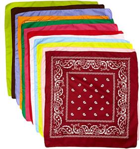 The Rock Collection Lot de 12 bandana en coton avec décoration cachemire Violet/orange/gris/bleu/cerise/rouge/noir/rose/jaune/vert citron/blanc/vert