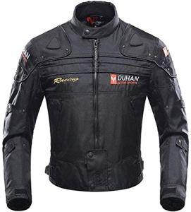 Veste de Moto, Blouson Moto Homme Sport avec Armure pour l'automne Hiver (Black, M)