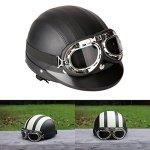 ViZe Casque Bol Demi Ouvert Casque Moto Protection Motocyclette Unisex avec Visière et Écharpe 54-60cm (Noir)
