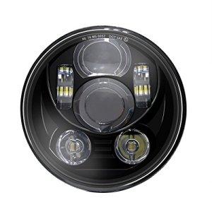 Wisamic Phare LED 5-3/4 de 5,75 pouces compatible avec Harley Davidson Dyna Street Train de tringle de nuit Bob Super Wide Glide Low Rider Softail Deuce personnalisé Sportster Iron 883-Black