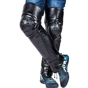 YoLiy Genouillères Confortables Confortable Moto en Cuir Genouillères Épaississement Hiver Chaud Coupe-Vent Équitation Genou Protecteur pour la Protection du Genou (Color : Black, Size : One Size)