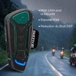 BEAUDENS Intercom Bluetooth de Casque Moto, Kit Écouteur Bluetooth, Appariement Entre 3 Motocyclistes, Portée 1200m, Interphone avec Réduction du Bruit, Communication Mains Libres pour Moto/Vélo