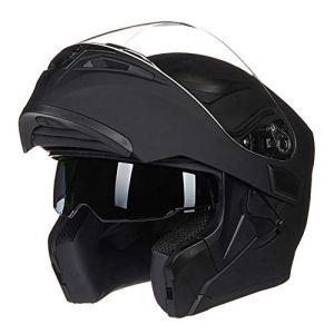 Casque de Moto pour Hommes Coupe-Vent à Double Face à Double lentille Flip Up Casques de Moto Anti-buée de Montagne Route de Motocross