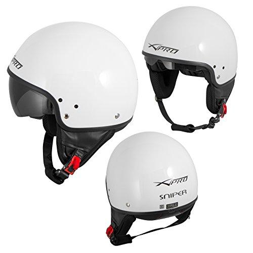 Casque Moto Scooter Vespa Jet Visiere pare soleil ECE 22 Blanc XS