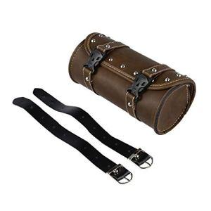 Leoboone Sacoche de selle de moto universelle en cuir PU pour outils de fourche Sac de bagage Sac de guidon Sacoche de selle de motocross