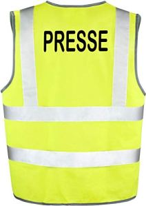 minline shop Gilet Sécurite Fluo PRESSE (L-XL, JAUNE FLUO)