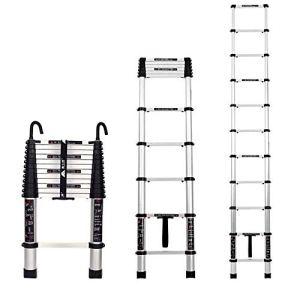 QEE Escabeau Pour Adultes Échelle de Rallonge En Alliage D'Aluminium Pour Attelage Échelle Multifonctionnelle À Crochet À 1 Bouton (Amovible) / 4.9m straight ladder+hook