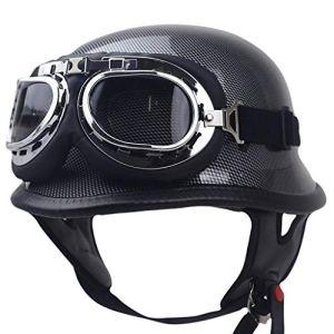Rétro été Casque de moto, moto demi Casque avec lunettes approprié Protection Old Style Shell Casque de vélo Cruiser (Size : M (57~58CM))