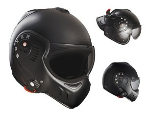 Roof Boxer V8 Full Black Flip Front Motorcycle Helmet SM Matt Black