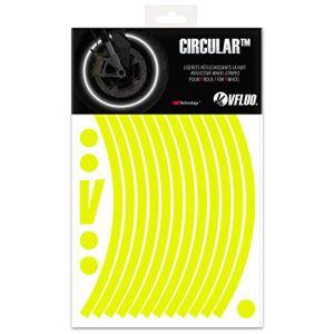 VFLUO Circular™, Kit Bandes Jantes Moto rétro réfléchissantes (1 Roue), 3M Technology™, Liseret Largeur XL : 10 mm, Jaune Fluo
