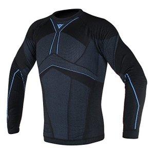 Dainese-D-CORE AERO TEE LS, Noir/Cobalt-Bleu, Taille M