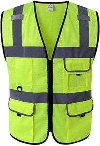 Gilet réflecteur Multifonctions Gilet réfléchissant de sécurité Filet réfléchissant Gilet de sécurité for la Moto vêtements de sécurité réfléchissants (Color : Yellow, Size : M)
