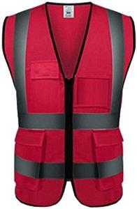 Gilet réflecteur Multifonctions Veste Moto Gilet de sécurité réfléchissant Gilet de sécurité réfléchissants Haute visibilité Tour de Moto vêtements de sécurité réfléchissants (Color : Sv888-red)