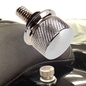 ICTRONIX 1/4″-20 Boulon de Siège Knurle Billet en Aluminium Vis d'Aluminium Banquette Vis de montage Moleté pour 1996-2015 Harley -DAVIDSON Chrome