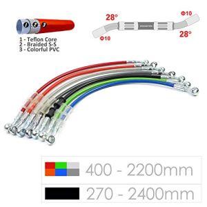 Ligne de tuyau de tube de tuyau de frein hydraulique tressé 10mm trou 400-2200mm (Silver(argent)/1200mm)