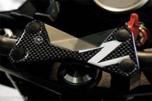 Protection 3D Plaque Fourche Compatible pour Moto Kawasaki Z750 Z1000 – Carbone Blanc