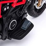 RIRICAR Moto électrique Aprilia DORSODURO 900, avec Licence, Batterie 12V, Roues Souples EVA, Moteurs 2 x 18W, Suspension, Cadre en métal, Fourche en métal, Roues auxiliaires, Noir