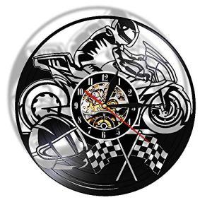 TIANZly Moto Racer Couleur changeant Applique Murale Moto Moto Disque Vinyle Vinyle Nuit lumière Horloge Murale