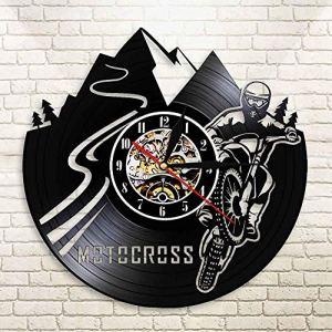 TIANZly Motocross Moto Moto Rider Vinyle Record Applique Murale Motocross garçon découpé Horloge Murale