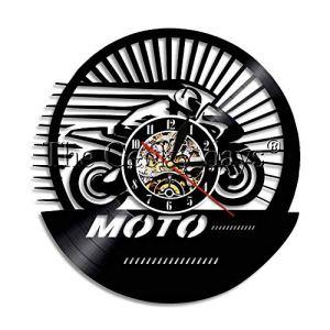 TPYFEI 1 pièce Style rétro Classique Moto Course publicité LED Lampe Logo rétro Design éclairage Disque Vinyle Horloge Murale-Pas LED