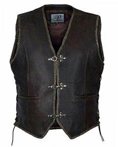 Veste en cuir brun homme GILET Chopper Biker Club de Rocker 1050-BR (4XL)