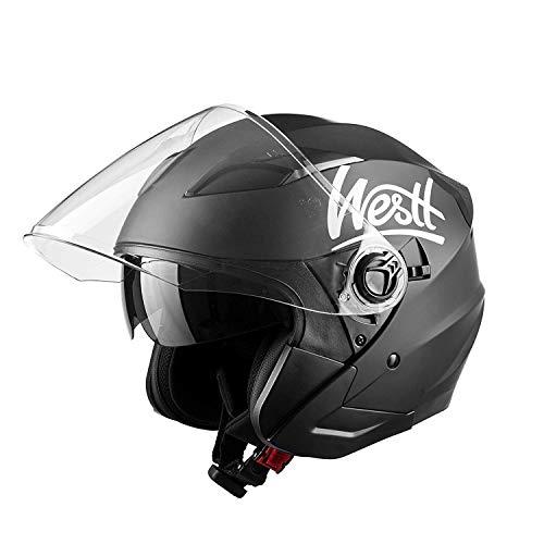 Westt Jet · Casque Moto Jet Double Visière en Noir Mat pour Scooter Chopper · Casque de Moto Homme et Femme Demi-Jet · ECE Homologué