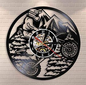 XZXMINGY 12″ Horloge en Vinyle Moto Mountain Rider Extreme Riding Riders Racing BMX Horloge Murale Motocross Moto Dirt Bike Disque Vinyle Horloge Murale Cadeau