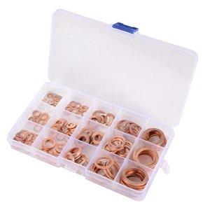 15 Spécifications Joints Bague D'étanchéité,Rondelles En Cuivre,Cuivre Rondelles Joint bague d'étanchéité avec Boîte,150pcs