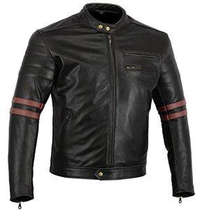 Bikers Gear UK veste de Moto couleur Black & Oxblood en cuir travaille Blouson modèle Café Racer Hybrid avec Protection approuvées CE – Large