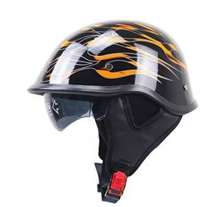 CHAOYUE Demi-Casque Moto Visière Solaire Visière Boucle À Dégagement Rapide Approuvé Dot Vélo Motocross, Coussinets d'oreille Amovibles, Hommes Femmes
