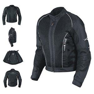 Eté Blouson Textile Touring Sport Moto Scooter Mesh Doublure Impermeable noir M